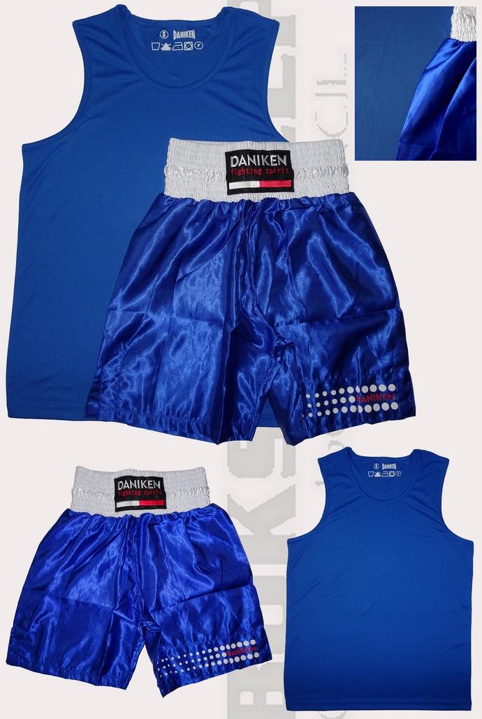 Komplet bokserski Daniken koszulka Master, spodenki Classic kolor niebieski