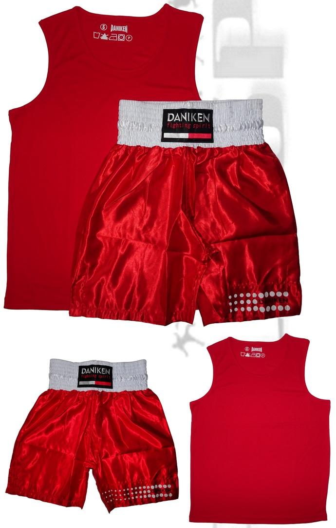 Komplet bokserski Daniken koszulka Master, spodenki Classic kolor czerwony